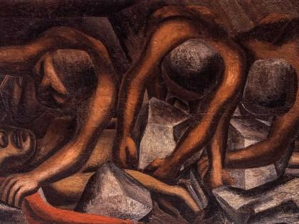 DAVID ALFARO SIQUEIROS . Accidente en la mina .1931