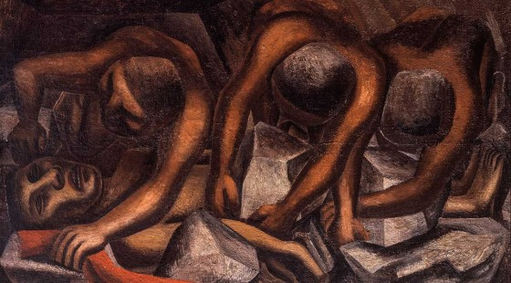DAVID ALFARO SIQUEIROS . Accidente en la mina .1931